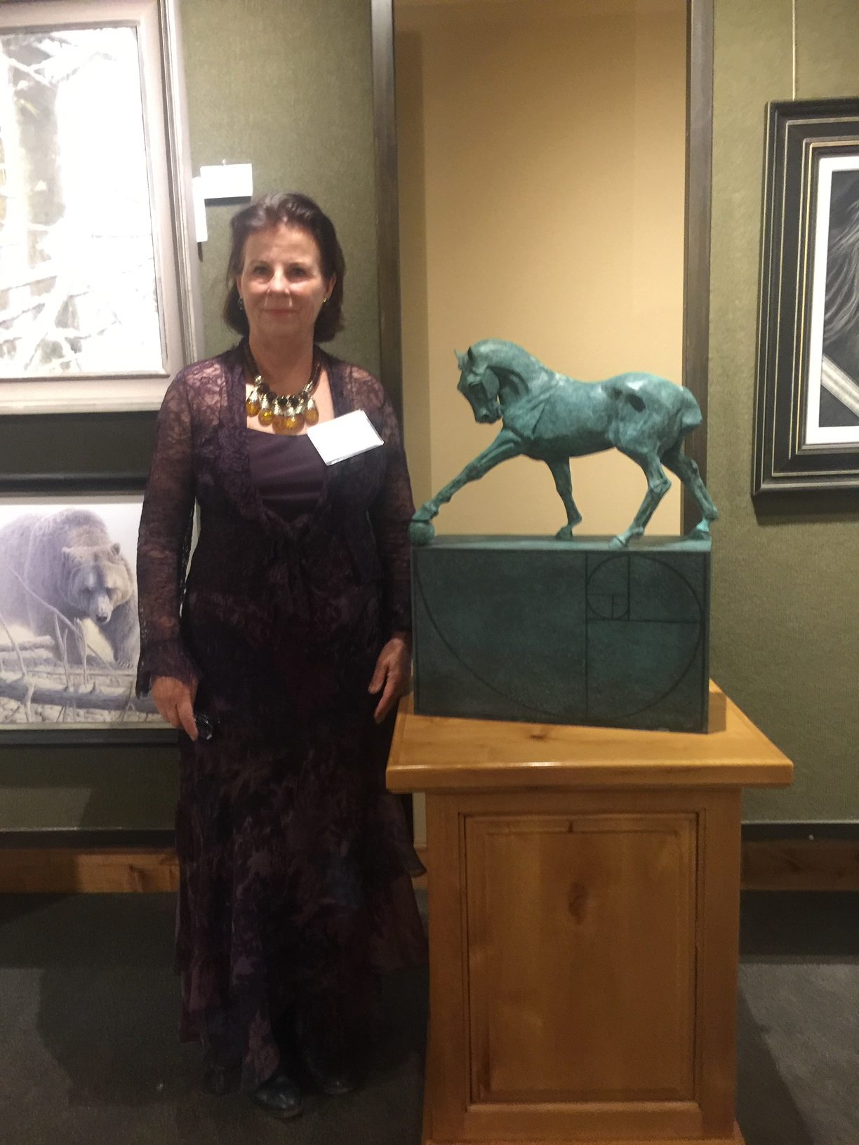 Diana with Maestro at Trailside Gallery SAA Show 2017 Jackson, WY